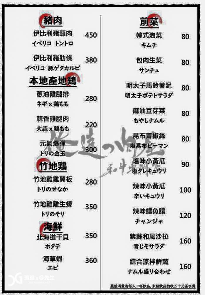 台中米其林一星燒肉店 俺達の肉屋 菜單